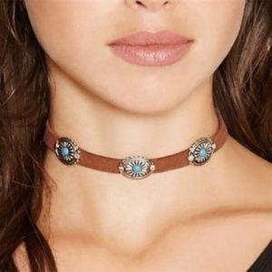 Faux Leather Boho Squash Turquoise Choker Necklace